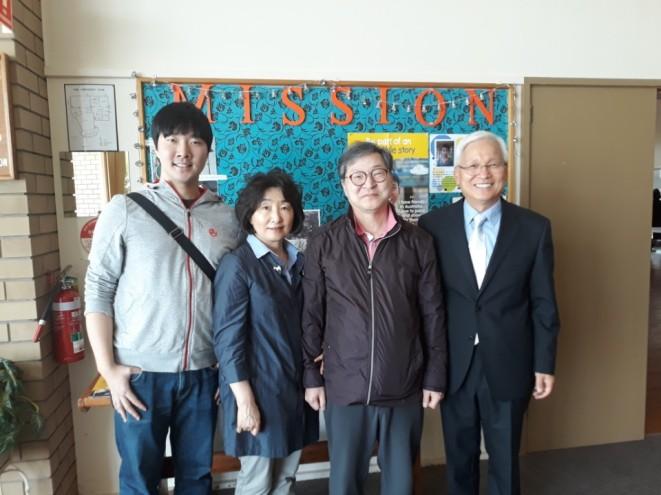 박준상 집사님, 김주영 권사님, 박양호 형제 (deacon Park, elder Kim and Yang-Ho Park)